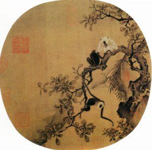 《猿猴摘果图》 佚名 团扇 绢本设色 纵25厘米 横25.6厘米 北京故宫博物院藏