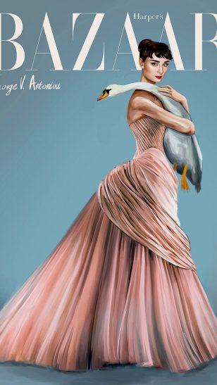 Audrey Hepburn - 塞浦路斯插画师 George V. Antoniou 绘画的奥黛丽·赫本肖像