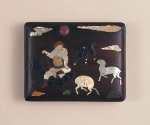 紫檀百宝嵌牧羊图长方盒