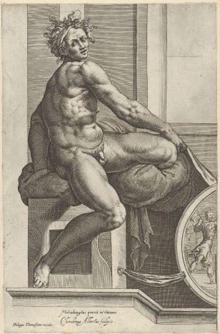 米开朗基罗在西斯廷教堂的壁画《最后的审判》之后,一名裸体男子(伊格努多)拿着窗帘,向右扭动身体