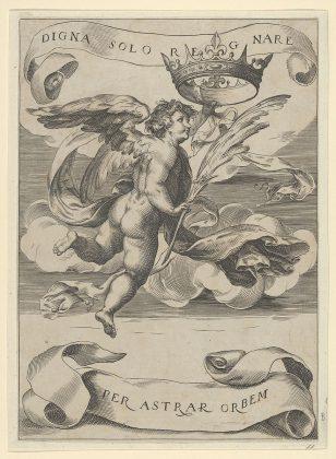 有翅膀的天才左手拿着托斯卡纳的王冠,右手拿着手掌。