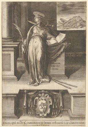 圣苏珊娜在一间屋子里,左手拿着一本打开的书,右手拿着一只手掌,从右边的窗户和底部中央可以看到一幅风景,一件手臂的外衣。