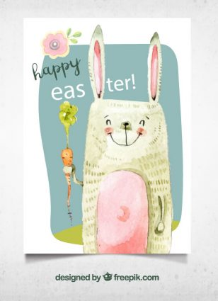 彩绘复活节兔子贺卡.Ai