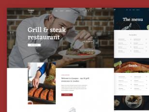 餐厅网站模板 .psd