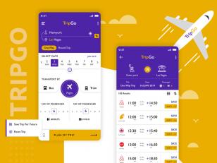 机票预订app ui .psd素材下载