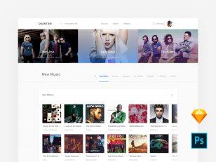 音乐网站首页模板 .sketch & .psd素材下载