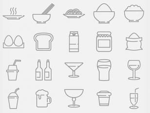 适合做菜单设计的食物矢量图标全套打包下载