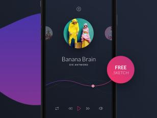 Music Player app UI Sketch素材下载