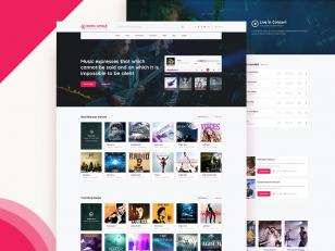 在线音乐平台网站首页设计.psd下载