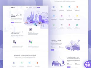 GoHub Landing Page 网页模板.psd下载