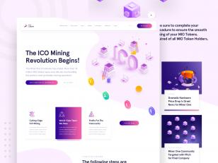 ICO、挖矿主题网页模板 .psd下载