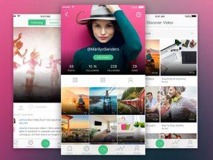 app video list & user profile sketch素材下载