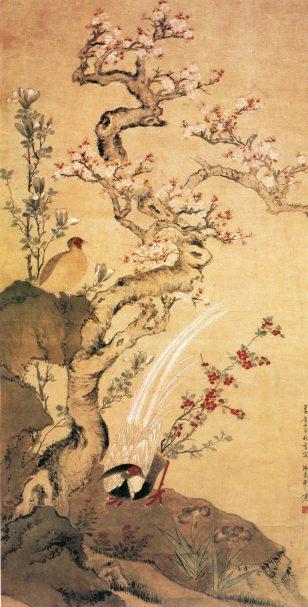 杏花锦鸡图 周之冕