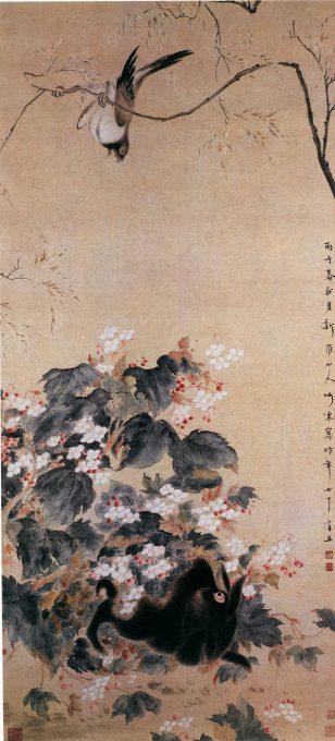 《海棠禽兔图》华岳