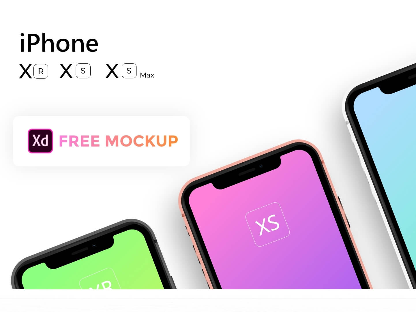 Apple iPhone Xs,Xs Max,Xr Mockup