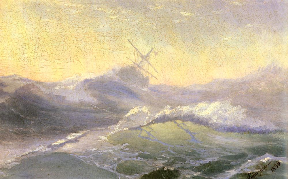 俄罗斯《Bracing the Waves》伊凡·康斯坦丁诺维奇·艾瓦佐夫斯基 Ivan Konstantinovich Aivazovsky