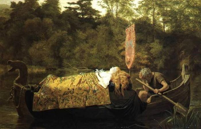 英国《Elaine (The Lily Maid of Astolat)》苏菲·冈恩布里·安德森 Sophie Gengembre Anderson