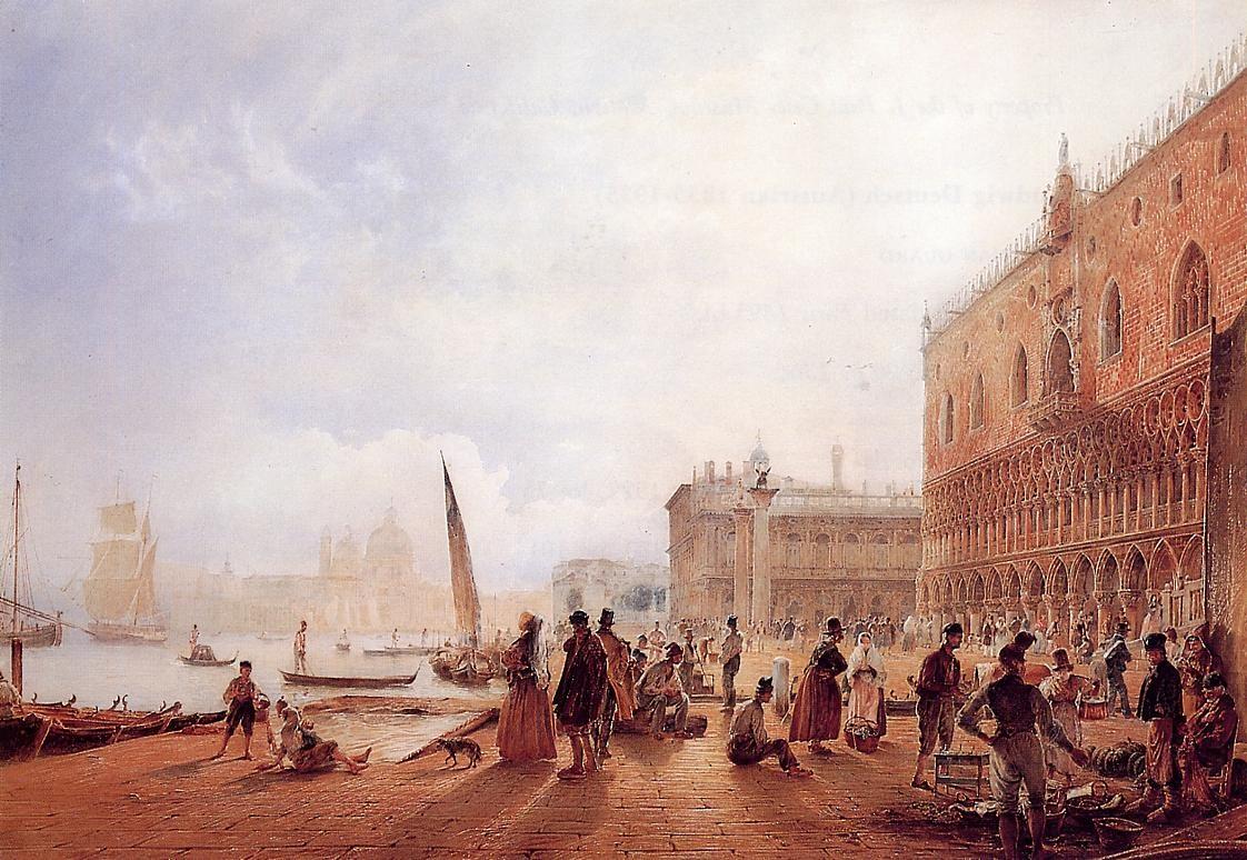 奥地利《Figures on the Riva degli Schiavoni》鲁道夫·冯阿尔特 Rudolf von Alt
