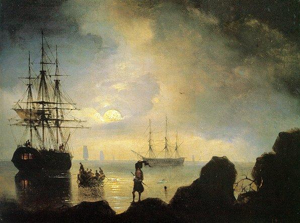 俄罗斯《Fishermen on the Shore》伊凡·康斯坦丁诺维奇·艾瓦佐夫斯基 Ivan Konstantinovich Aivazovsky