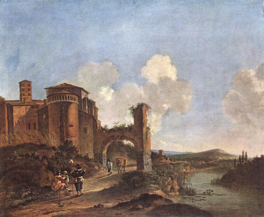 荷兰《Italian Landscape with SS. Giovanni e Paolo in Rome》阿塞林Asselyn Jan