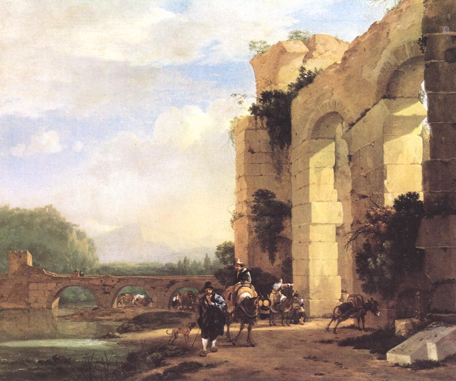 荷兰《Italian Landscape with the Ruins of a Roman Bridge and Aqued》阿塞林Asselyn Jan