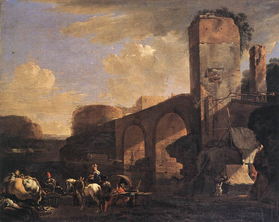 荷兰《Italianate Landscape with a River and an Arched Bridge》阿塞林Asselyn Jan