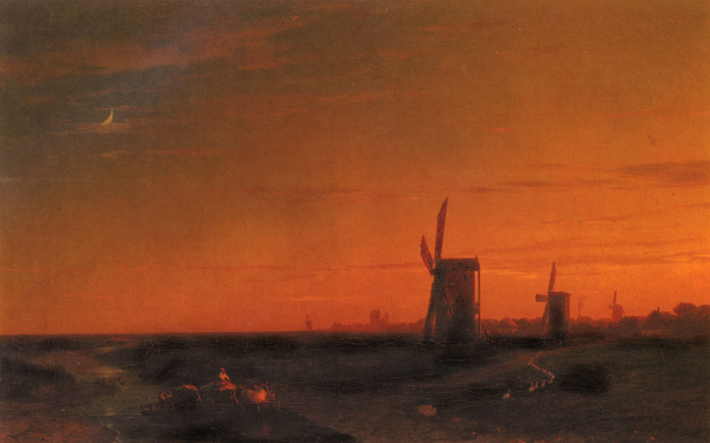 俄罗斯《Landscape With Windmills》伊凡·康斯坦丁诺维奇·艾瓦佐夫斯基 Ivan Konstantinovich Aivazovsky