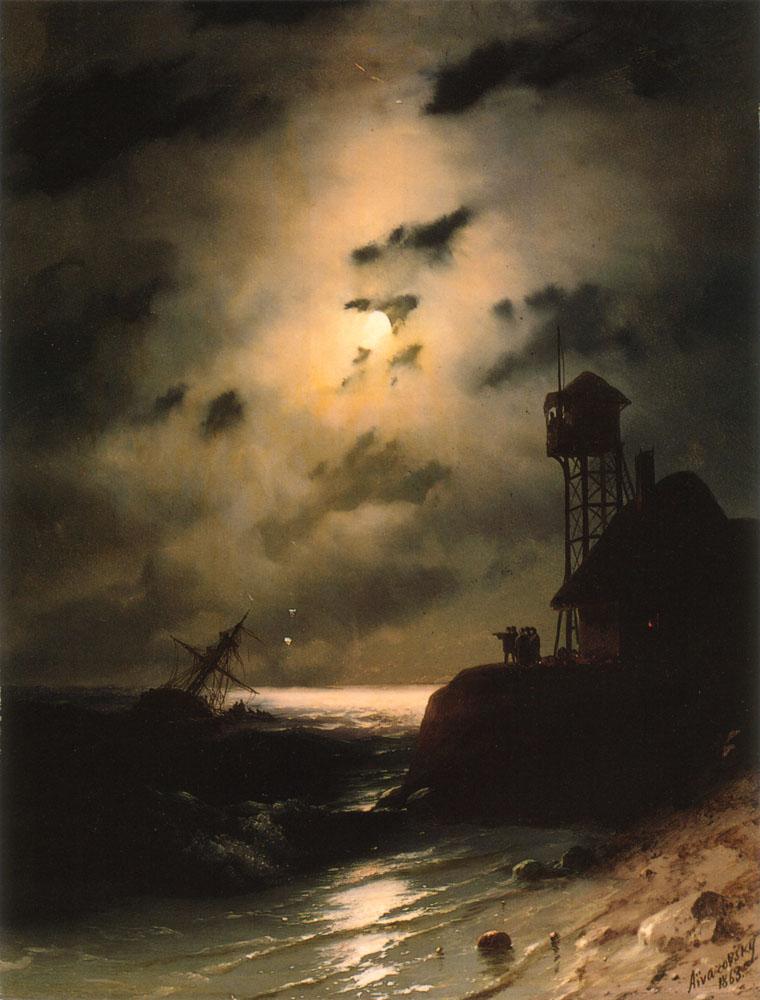 俄罗斯《Moonlit Seascape With Shipwreck》伊凡·康斯坦丁诺维奇·艾瓦佐夫斯基 Ivan Konstantinovich Aivazovsky