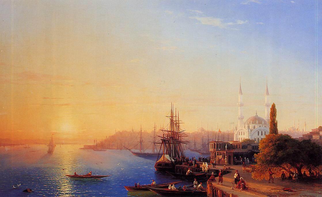 俄罗斯《Panorama of Constantinopole》伊凡·康斯坦丁诺维奇·艾瓦佐夫斯基 Ivan Konstantinovich Aivazovsky