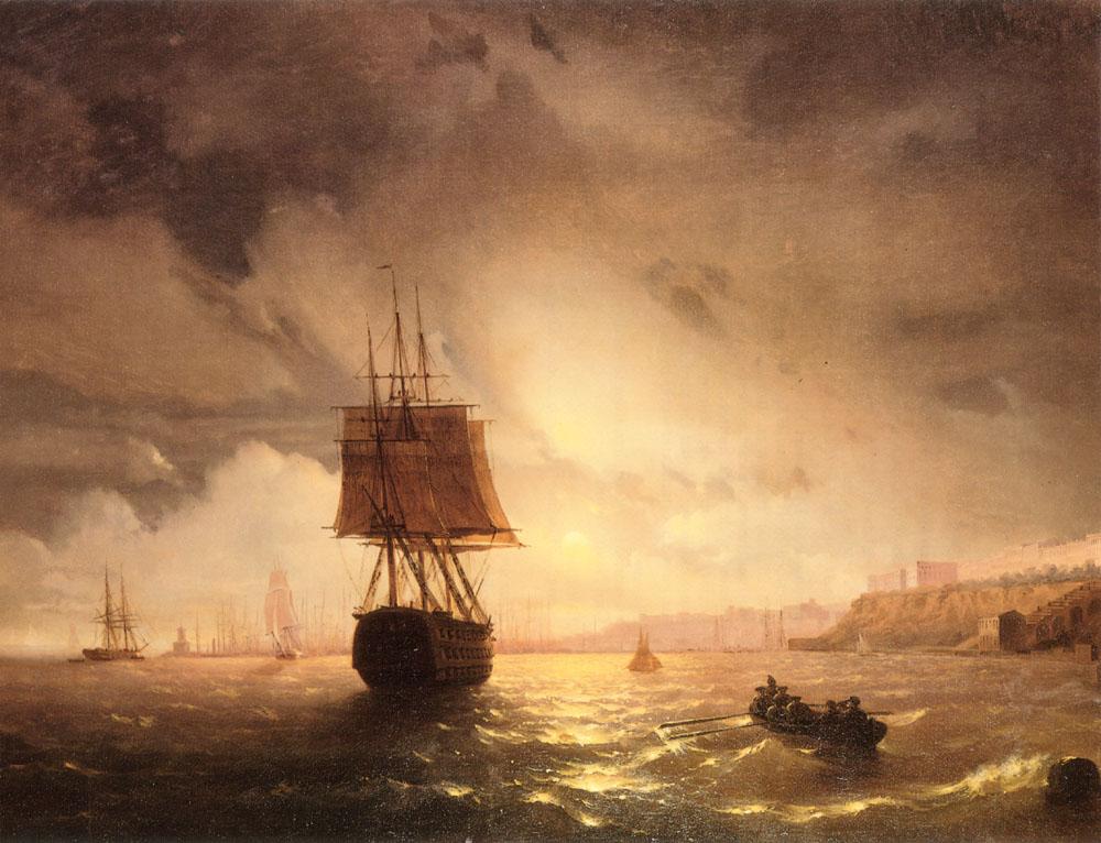 俄罗斯《The Harbor At Odessa On The Black Sea》伊凡·康斯坦丁诺维奇·艾瓦佐夫斯基 Ivan Konstantinovich Aivazovsky