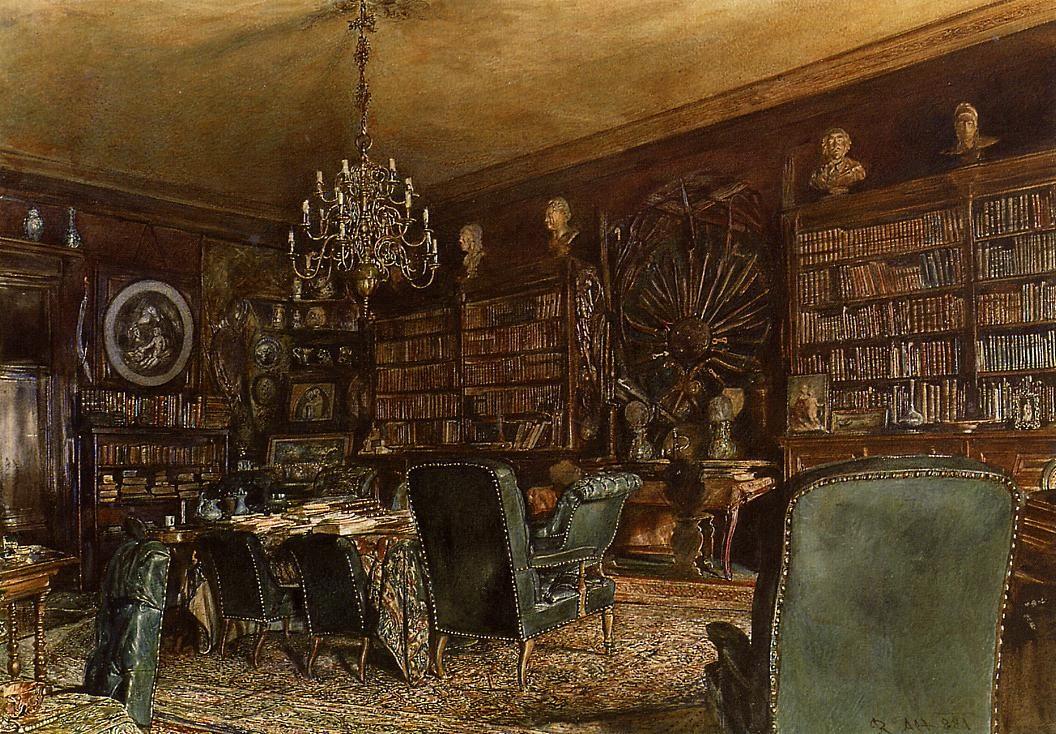 奥地利《The Library of the Palais Lanckoronski, Vienna》鲁道夫·冯阿尔特 Rudolf von Alt
