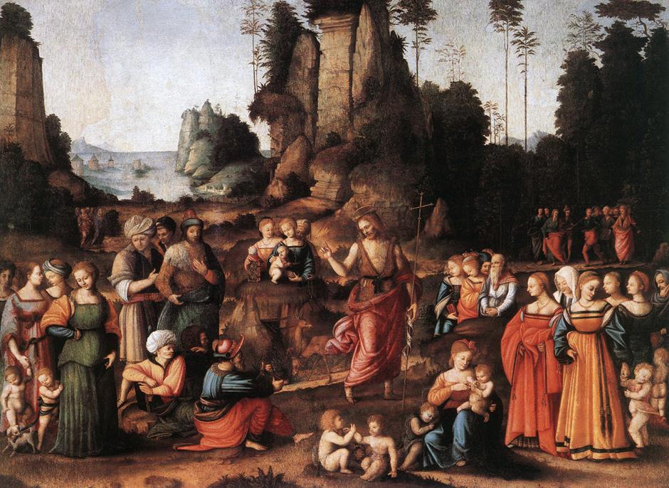 意大利《The Preaching of Saint John the Baptist》班奇亚卡Bacchiacca
