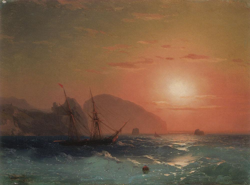 俄罗斯《View Of The Ayu Dag, Crimea》伊凡·康斯坦丁诺维奇·艾瓦佐夫斯基 Ivan Konstantinovich Aivazovsky