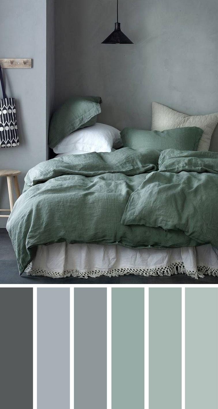 灰绿色卧室配色方案