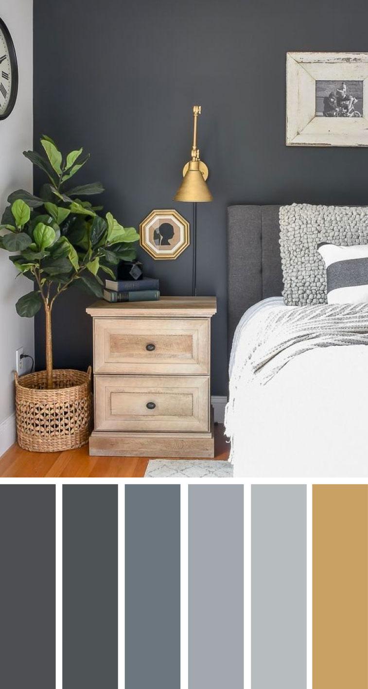 灰色带有金色装饰卧室配色方案