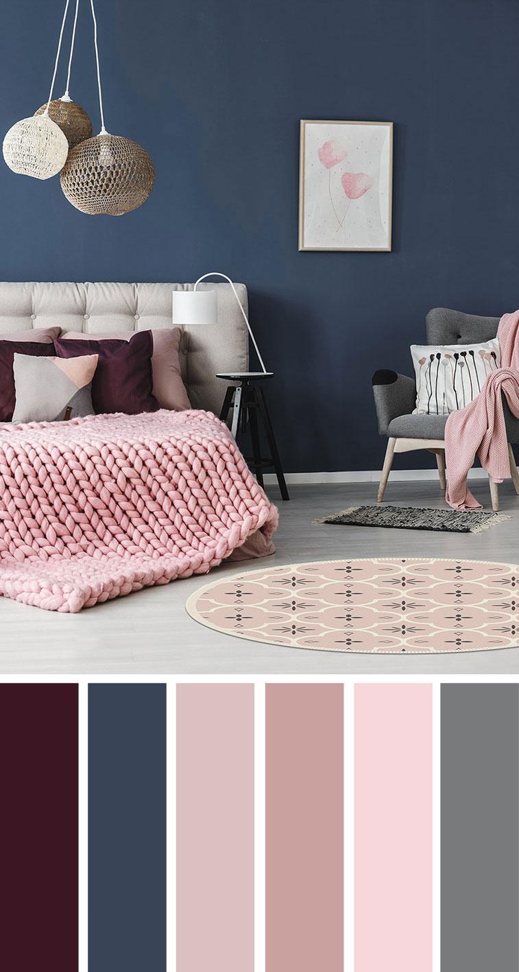 紫色+粉色+藏青色卧室配色方案