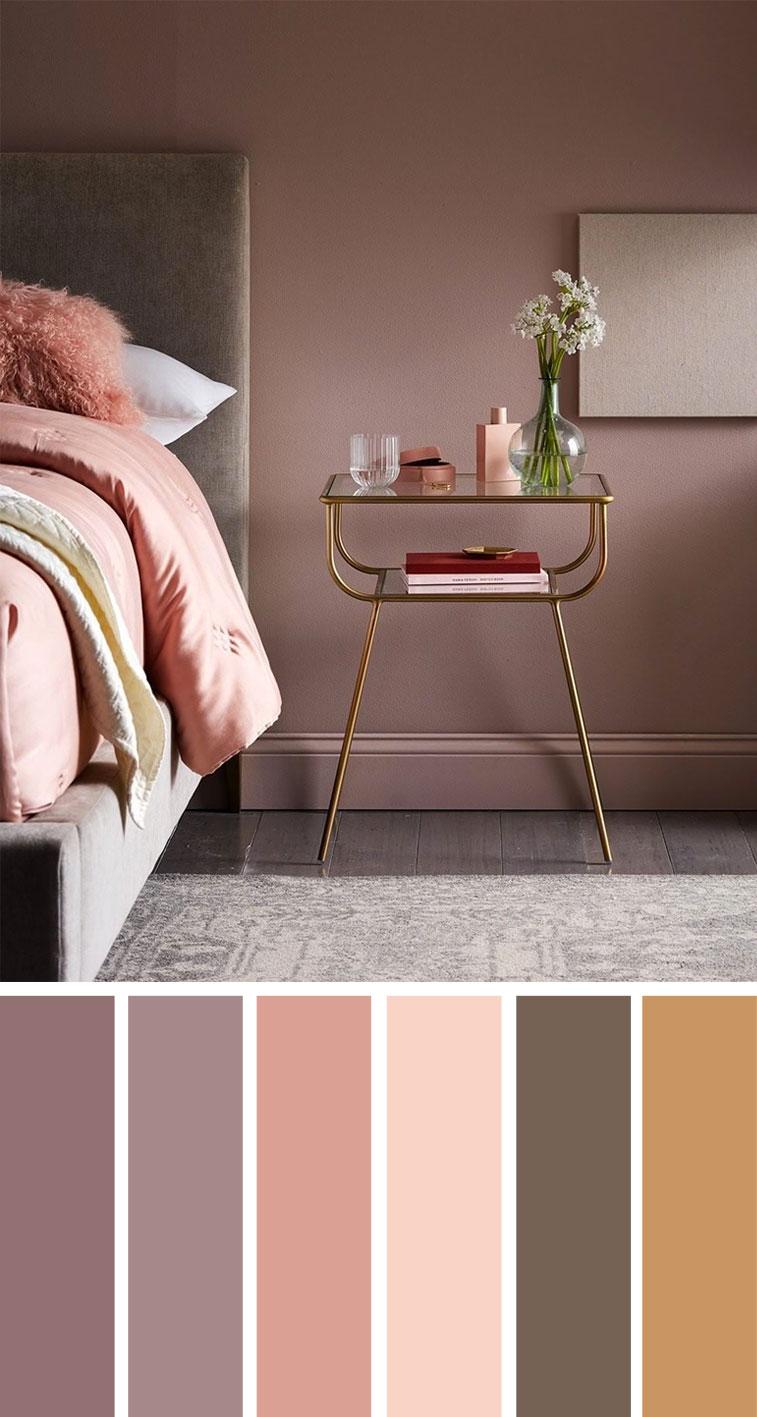 淡紫色腮红灰色金色调卧室配色方案