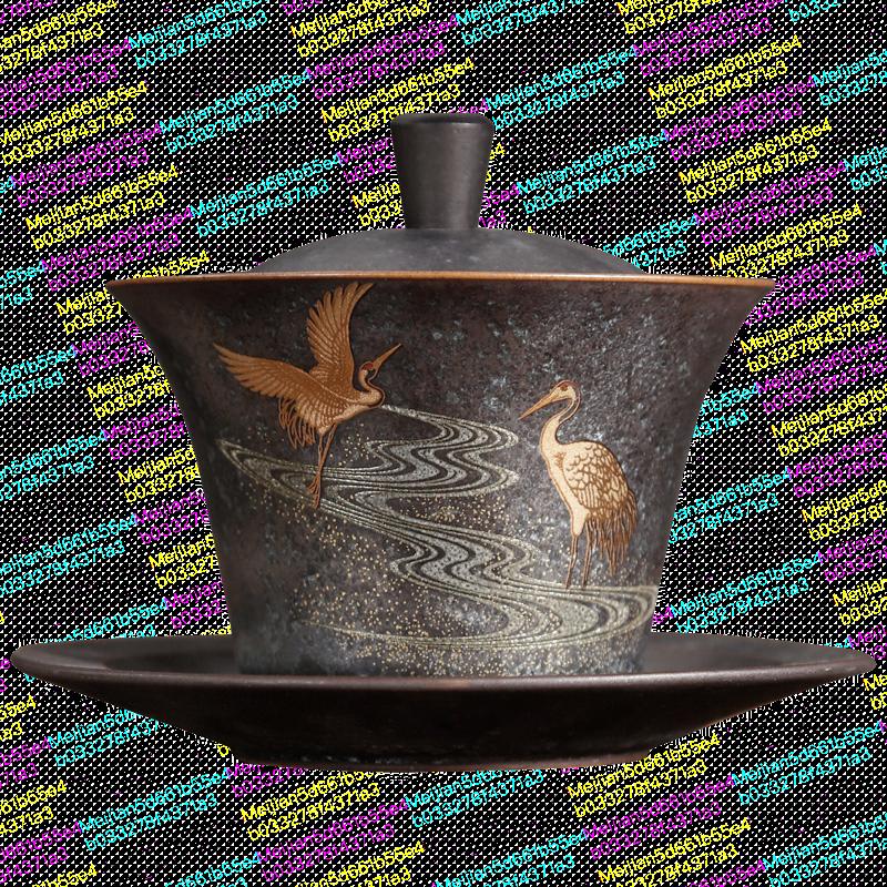 仙鹤泡茶器三才盖碗敬茶碗手抓壶单个主人大茶杯陶瓷功夫茶具套装