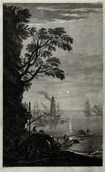 A Harbour in the Evening with Men Working in the Foreground