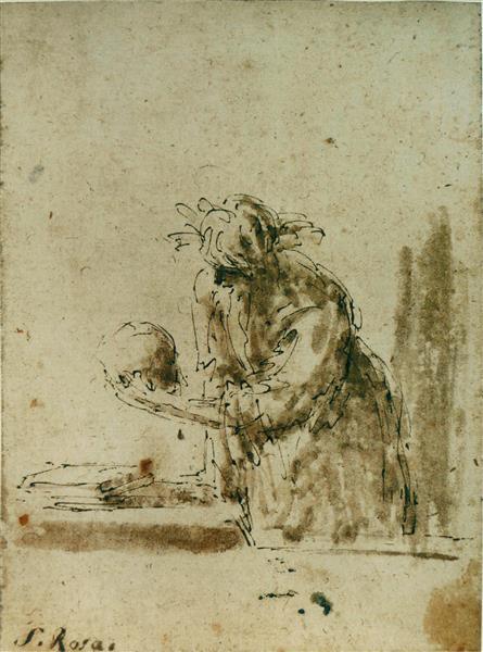 Man Contempling a Skull