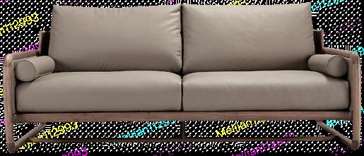 传世 现代黑胡桃全清皮双人沙发