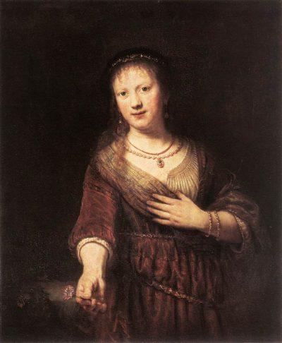 《Portrait of Saskia with a Flower》伦勃朗·哈尔曼松·凡·莱因